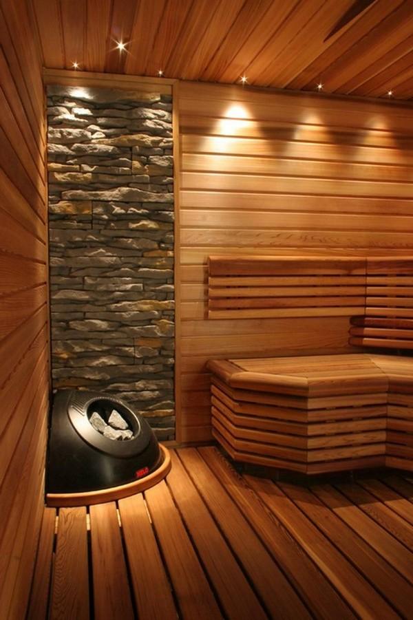 Печь в интерьере современной бани