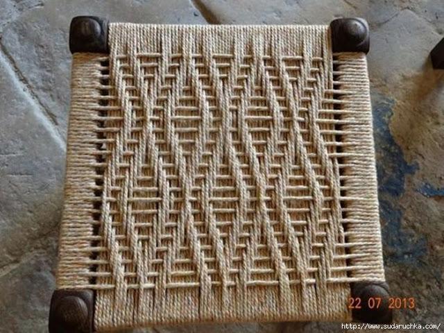 Идеи плетеных сидений для стула или банкетки.