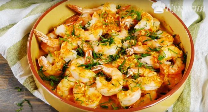 Запеченные креветки в чесночном соусе. Очень вкусное и к тому же низкокалорийное блюдо!