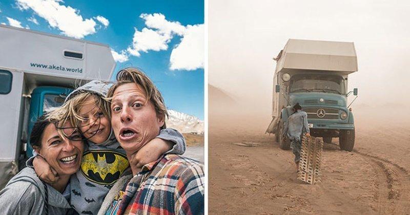 Семья продала все и отправилась в путешествие по миру на старом грузовике (41 фото)