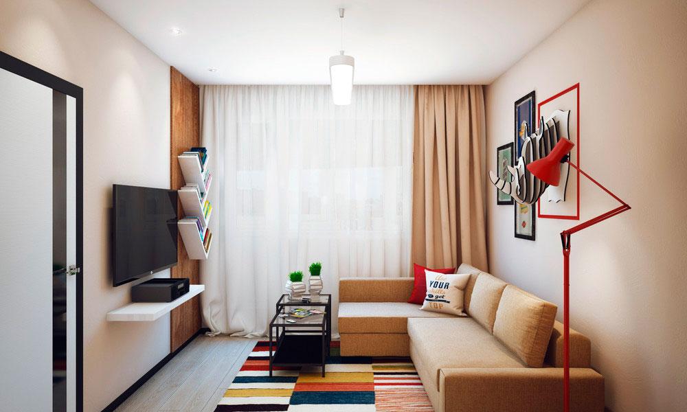 Дизайн спальни 14 кв.м с диваном