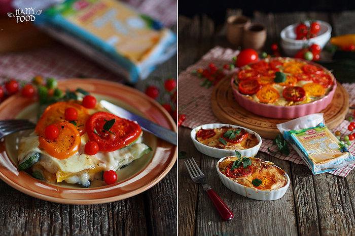 Сырный гратен с кабачками и томатами
