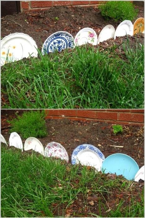 Старые тарелки можно легко использовать в качестве декоративного ограждения для клумбы.