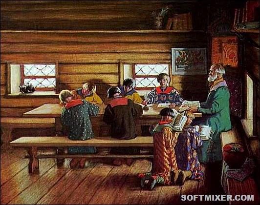 School_in_Moscow_tsardom_by_B.Kustodiev