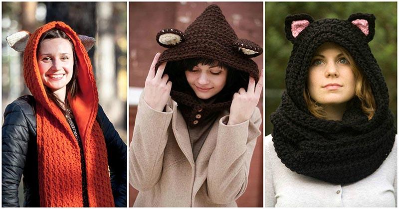 Шарф-капюшон с ушками: 15 очаровательных идей на осень-зиму