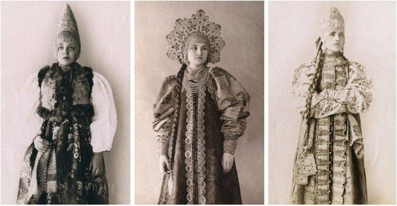 Русские красавицы 19-го века в традиционных костюмах девушки, костюм, красавицы, одежда, платье, сарафан