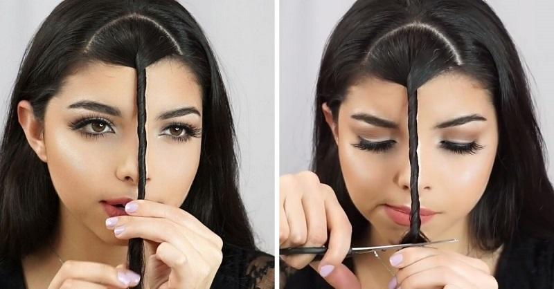 Как подстричь себе челку в домашних условиях видео