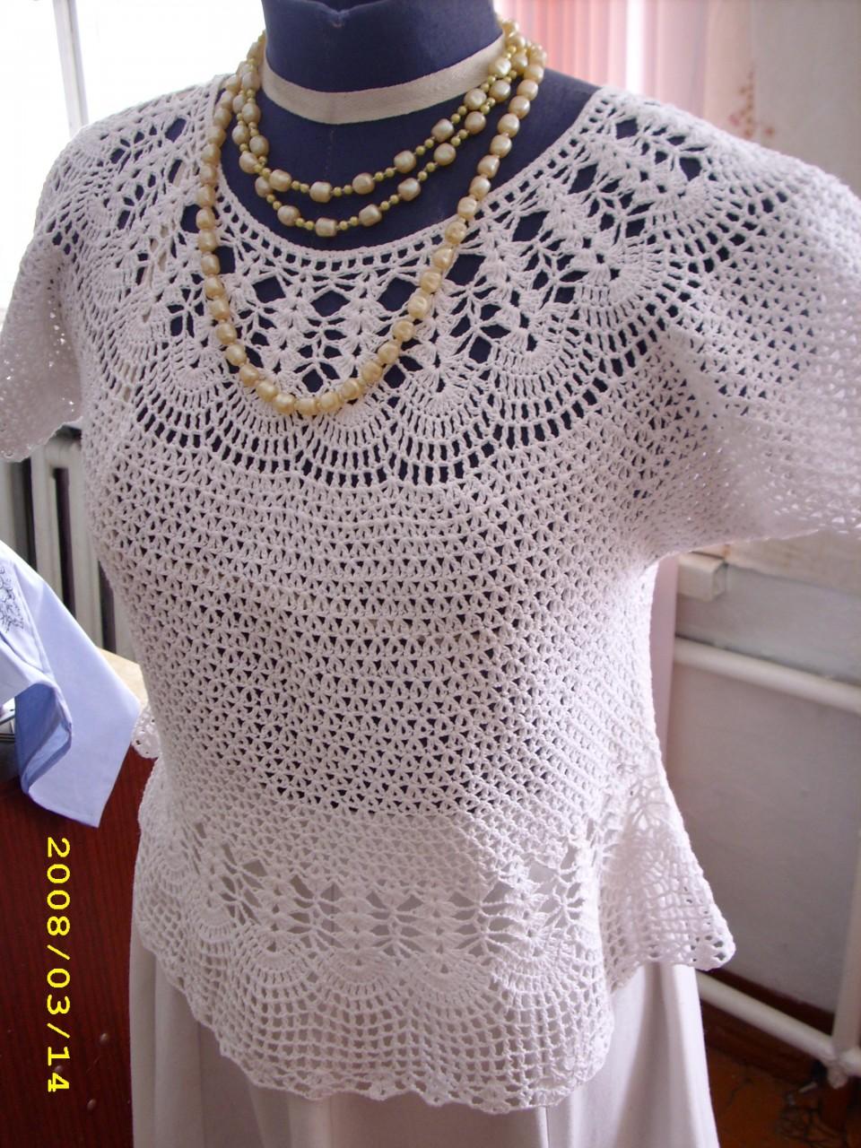 Вязание летних кофточек от горловины 645