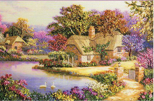 Объемная вышивка «Лебединый домик»
