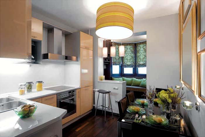 Кухни совмещенные с балконом и дизайн