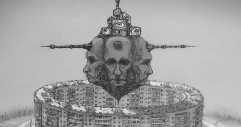 Скандальная графика российского художника, в которой нашлось место Путину, Мордору и слизням