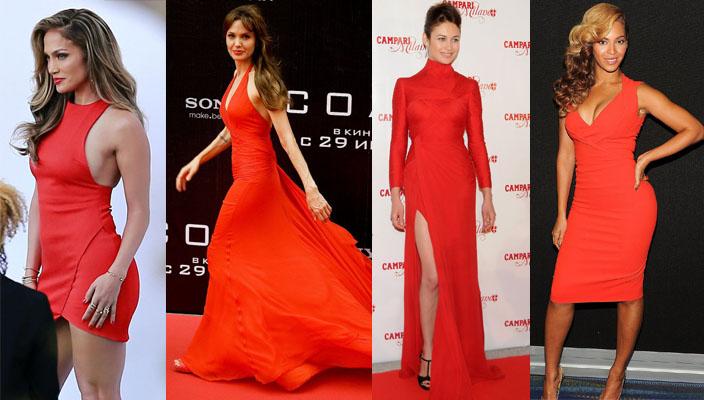 Знаменитости в красных платьях. Фото подборка.
