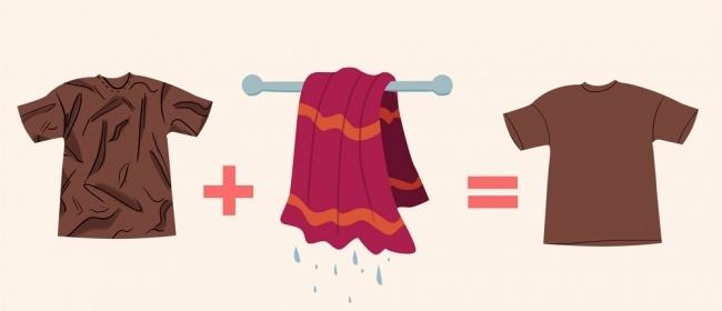 Поместите смятую одежду в сушилку вместе с влажным полотенцем