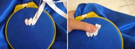 Сначала определитесь с рисунком и сделайте его с помощью мела или кусочка мыла. После этого затяните отрезок пяльцами так, чтобы рисунок оказался в центре. Проще всего вышивать ромашки. Для этого нарисуйте сердцевинку и лепесточки.
