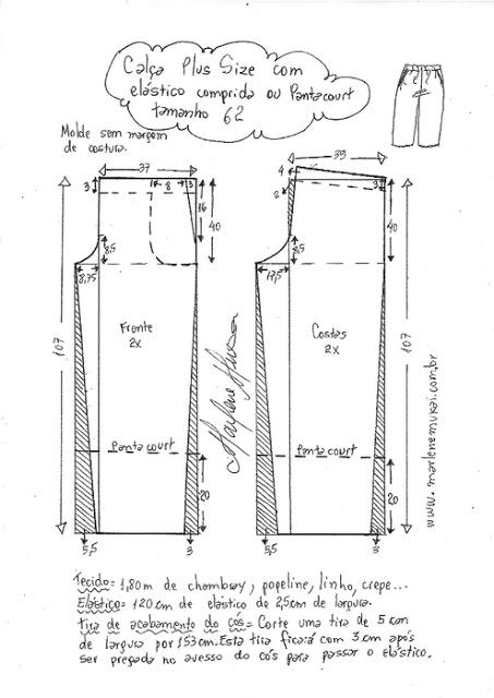 Выкройка женских брюк (44-62 евро размеры)