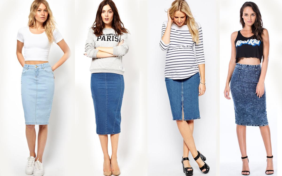 Джинсовая юбка — с чем носить юбку из денима