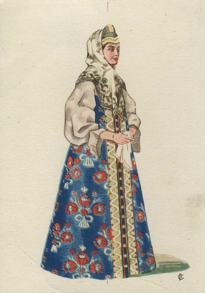 Девичьи и женские русские народные костюмы ( на коллекционных советских открытках)