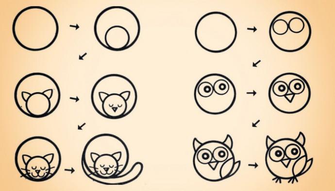Как научить ребёнка рисовать животных из кругов