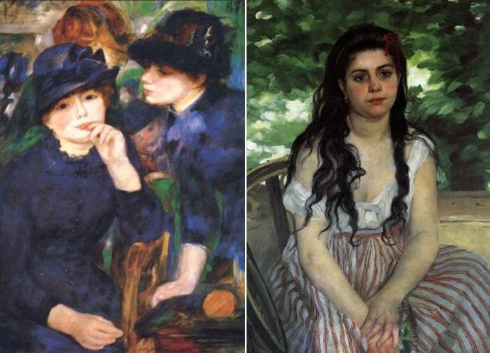Огюст Ренуар. Слева – *Девушки в черном*, 1880-1882. Справа – *Лето* (*Девушка-цыганка*), 1868