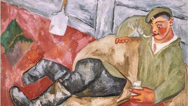 Выставка М. Ларионова. Отдыхающий солдат. 1911