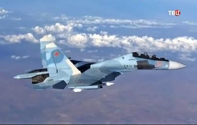 Минобороны показало видео тренировочного боя Су-30СМ