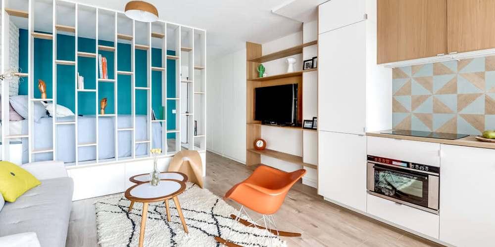 Интерьер квартиры-студии площадью 25 кв. метров в пригороде Парижа
