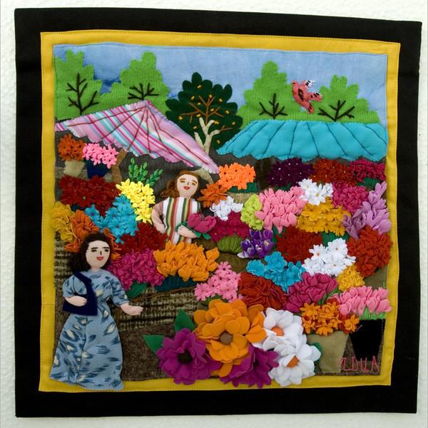 Картина из кусочков ткани своими руками