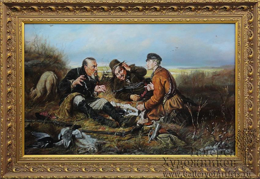 Набор вышивки охотники на привале