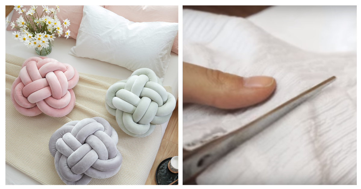 Декоративная подушка-узел своими руками