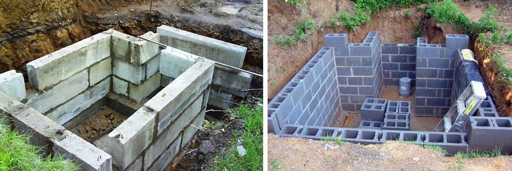 Как построить погреб из блоков своими руками