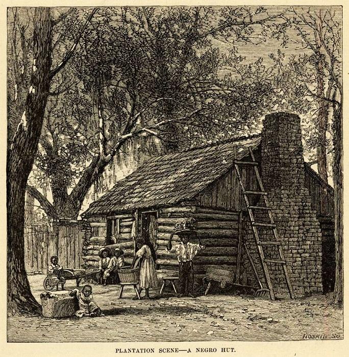 Бревенчатое жилище семьи рабов (Юг США, 1860-е годы)