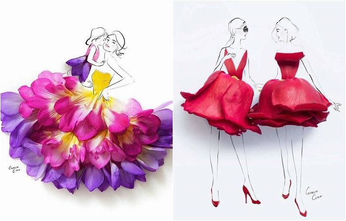 Художник создаёт элегантные эскизы одежды, раскладывая цветочные лепестки по акварели