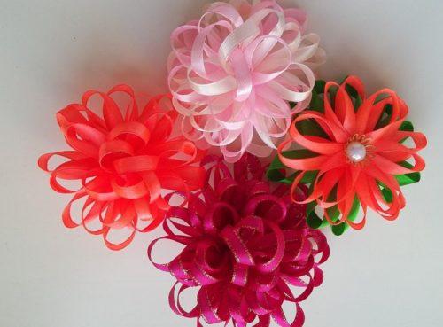Цветок из упаковочной ленты мастер класс