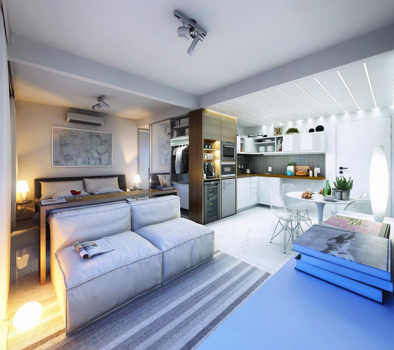 Интерьер квартиры-студии 30 м кв фото