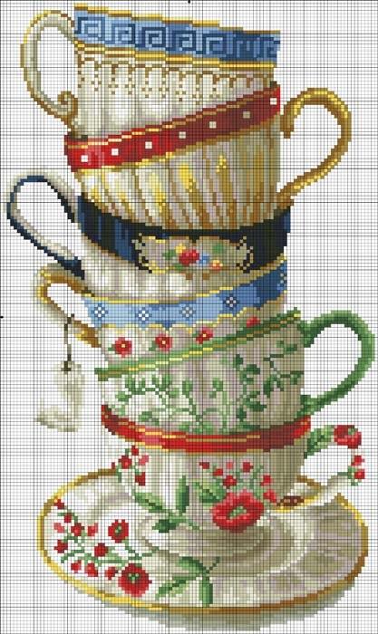 Схемы для вышивки крестом кофейные чашки