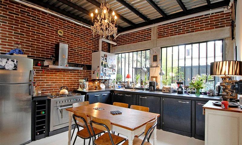 Кирпичная стена в интерьере кухни - фото идеи для вдохновения
