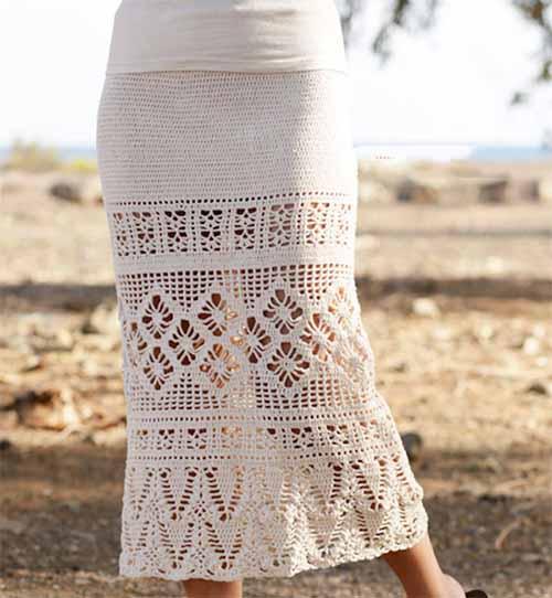 длинная юбка с ажурными узорами