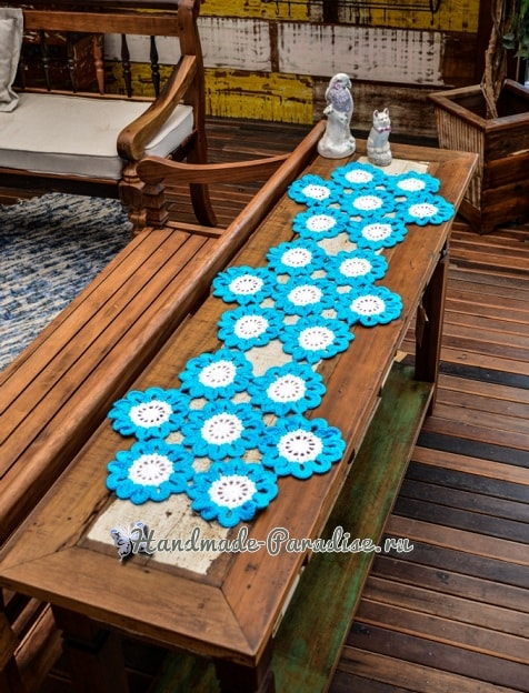 Салфетка-дорожка «Бирюзовые цветы» крючком