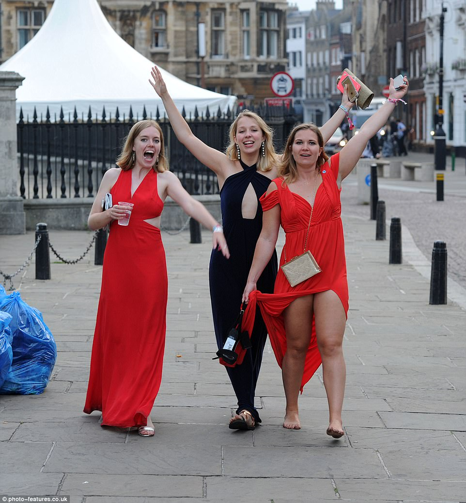 Female guests looked delighted to be celebrating the end of exam season at one of the country's top universities