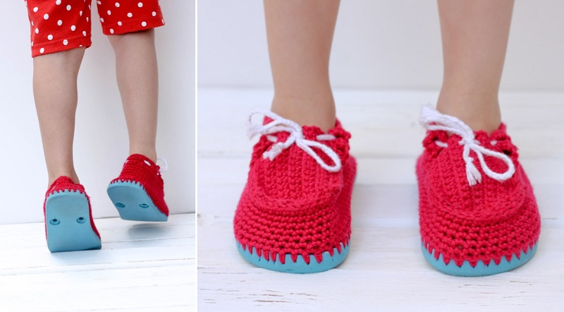 knitted shoes with their hands