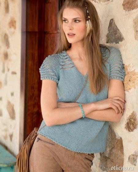 Пуловер с короткими оригинальными рукавами