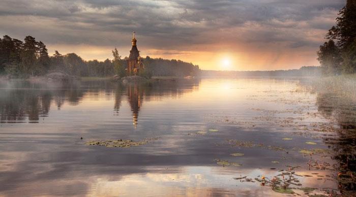 Сказочный пейзаж реки Вуоксы.