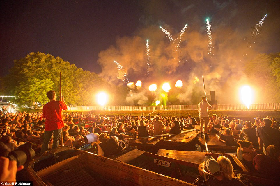 Pulling out all the stops: Entertainment was provided in the form of a dazzling firework display over the River Cam, with dance act Sigma and rock band Nothing But Thieves headlining the party itself