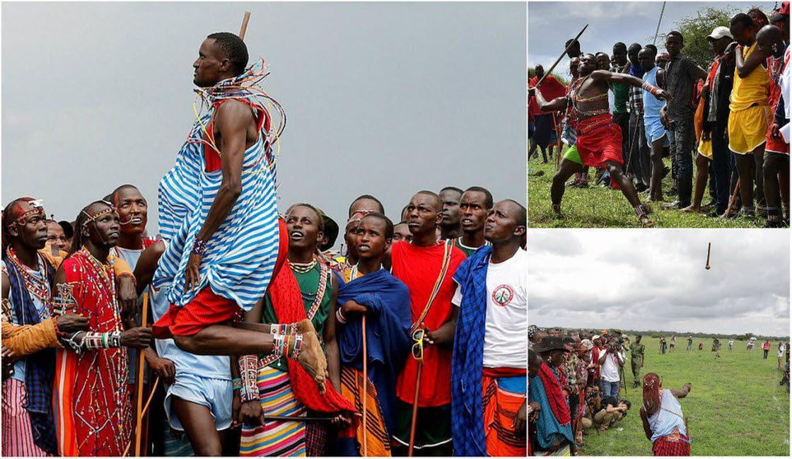 Кенийские воины соревнуются …