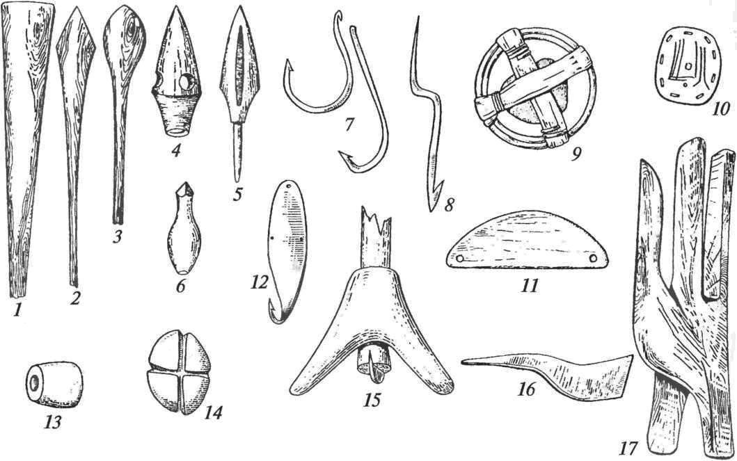 Принадлежности для охоты, рыболовства и промыслов: 1-6— стрелы (1-3— дерево, 4-6— кость); 7 — крючки рыболовные; 8— острога; 9, 13, 14 — грузила; 10-11 — поплавки; 12— блесна; 15— ботало; 16 — медорезка; 17 — лазиво бортника