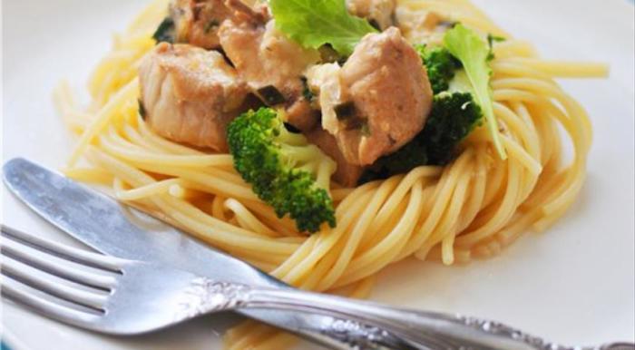 Спагетти с курицей и брокколи.  Фото: google.ru.