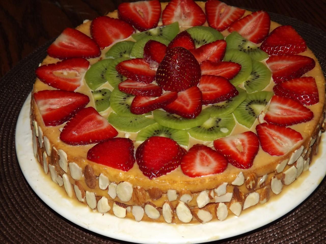 Торт с фруктами в домашних условиях фото