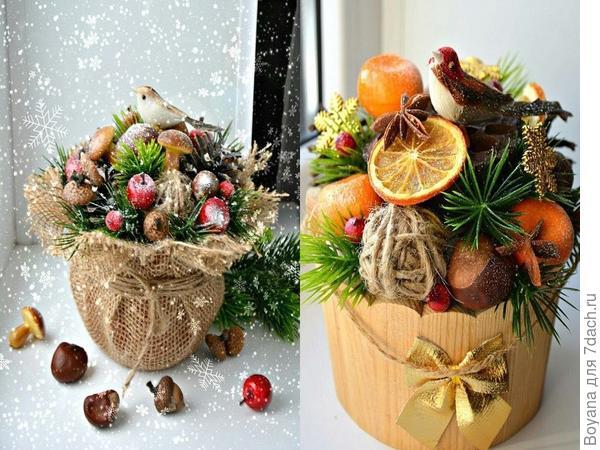 Новогодние букеты из различных материалов. Фото с сайта https://ru.pinterest.com/