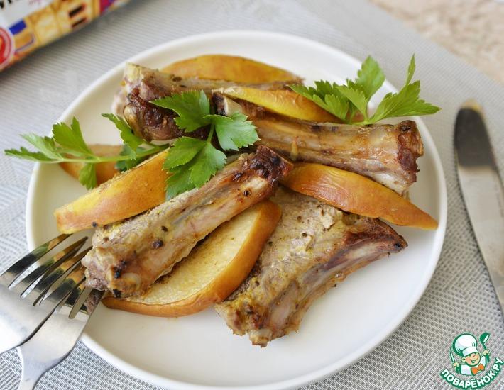 Рецепт: Свинина с айвой в горчичном маринаде