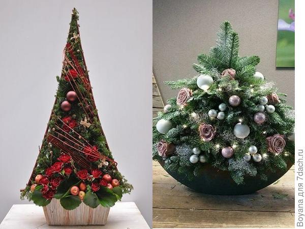 Новогодние композиции в форме елки. Фото с сайта https://ru.pinterest.com/